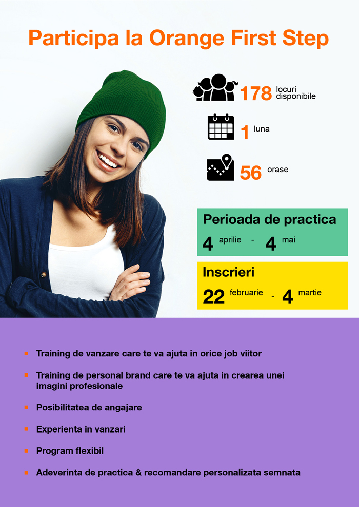 Studenţii şi masteranzii interesaţi pot aplica la o nouă ediție Orange First Step